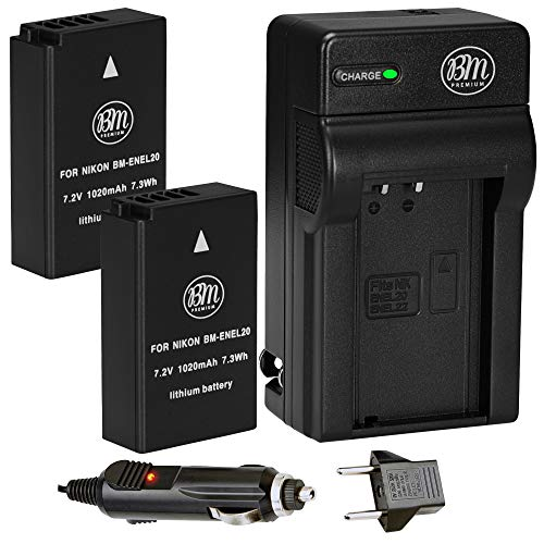 dbca4907bfb BM Premium 2 Pack of ENEL20, EN-EL20A Batteries and Battery Charger for  Nikon