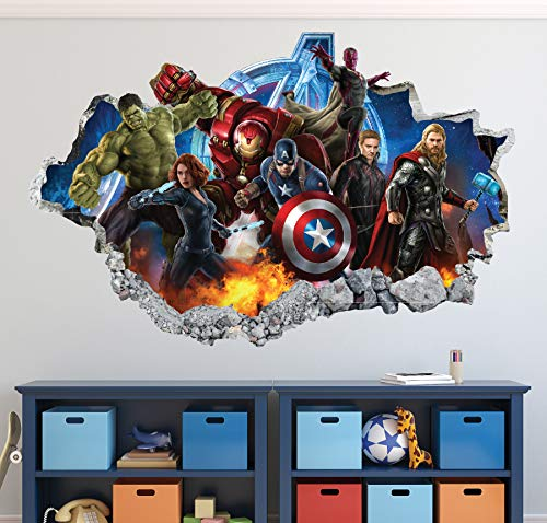 Avengers Wall Decal Super Hero Art Decor 3D Smashed Sticker Mural Kids Gift Poster Large HA16 (50