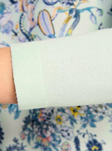 oodji Collection Mujer Jersey Combinado con Estampado Delantero Verde (6580F)