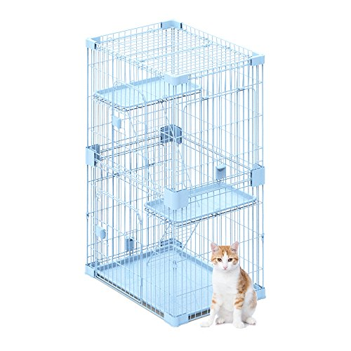 PetPals Wirehouse-Two Levels Sky Blue Cat Cage, One Size