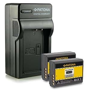 M&L Mobiles®   Novedad - 4in1 Cargador + 2x Batería como LP-E10 LPE10 con Infochip · 100% compatible con Canon EOS 1100D   Rebel T3   KISS X50