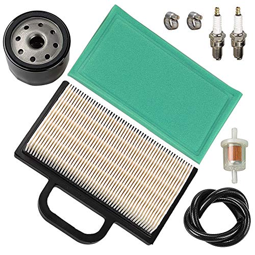 LIYYOO 499486S 698754 Air Filter with Oil Fuel Filter Spark Plug for Briggs & Stratton Intek Extended Life Series V-Twin 18-26 HP John Deere Lawn Mower Tractor ()