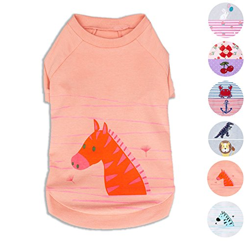 Santa Dog Tank - Blueberry Pet Henry the Zebra Cotton Dog Shirt in Light Apricot , Back Length 10