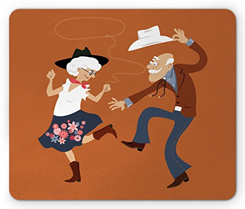 Lunarable Country Mouse Pad, Senior Old Couple with Western Costumes Dancing Partying Square Dance Contradance, Standard Size Rectangle Non-Slip Rubber Mousepad, (Country Mouse Costume)