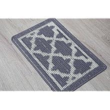 EN'DA Home Entrance Doormat high quality fiber with various pattern Bathroom Doormat 15 by 22.8-Inch (Gray)
