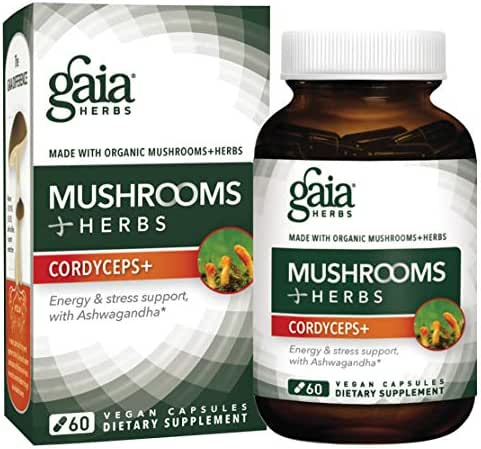 Gaia Herbs Mushrooms + Herbs Cordyceps Plus, Vegan Liquid Capsules, 60 Count - Energy, Stamina and Stress Support with Ashwagandha, Ginger Root & Organic Cordyceps
