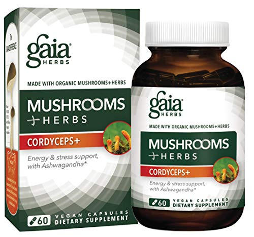 Gaia Herbs, Mushrooms + Herbs Cordyceps Plus, Energy Support, Organic Ashwagandha, Ginger Root, Cordyceps, Vegan Powder Capsules, 60 Count