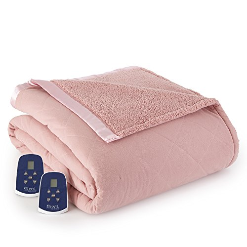 Thermee Micro Flannel Electric Blanket with Sherpa Back, Blush, Twin