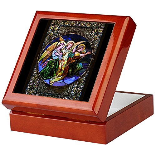CafePress - Three Stained Glass Angels - Keepsake Box, Finished Hardwood Jewelry Box, Velvet Lined Memento Box (Hardwood Box With Lid compare prices)