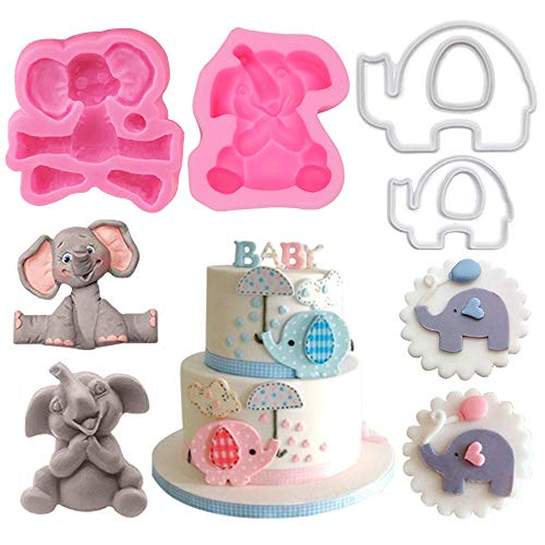 2Pcs 3D Baby Elephant Silicone Sugar Cube Molds and 2Pcs Cookie Cutter Make Decorations for Baby Shower Party Cake Decorated Chocolate Cookies Candy Made]()