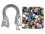 50 Piece Large Hole Glass European Bead Assortment & 5 Silver Tone European Snake Chain Bracelets