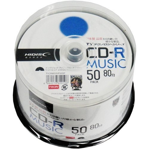 HI-DISC CD-R 음악용 48 배속 80 분 50 매 【 TY 테크놀로지 】 TYCR80YMP50SP / HI-DISC CD-R For Music 48x 80 min. 50 sheets [TY Technolog