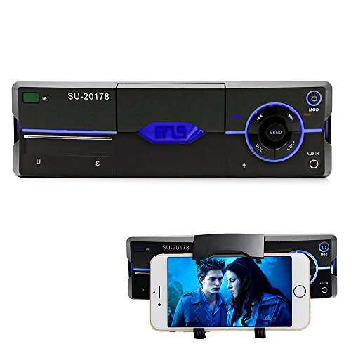 Car Stereo with bluetooth Car stereo with Phone Holder, Car audio radio reciver, Single Din in Dash,Support USB, SD Card, FM,AUX IN, with Remote ()