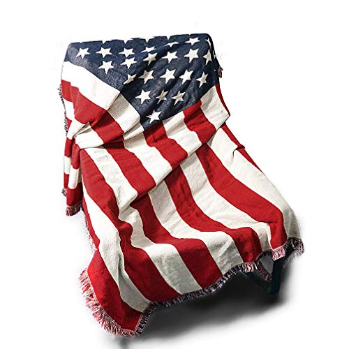 (Dreamseden Cotton Woven Throw Blanket with Fringe, Portable American Flag Blanket, Used as Couch Cover Bed Throw Sofa Blanket for Bedroom Living Room Home Table Decor (51