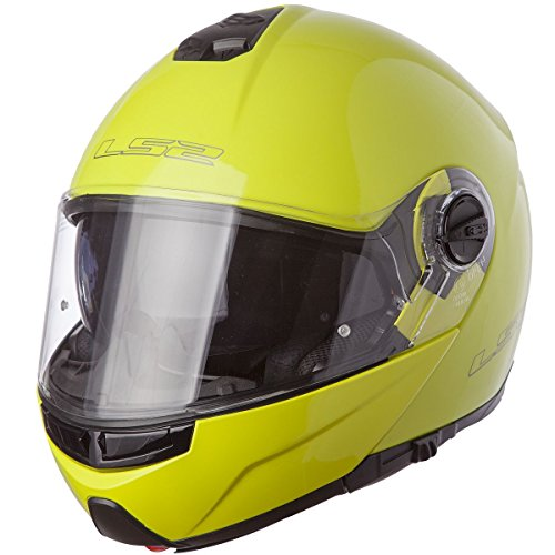 LS2 Helmets Strobe Solid Modular Motorcycle Helmet with Sunshield (Hi-Vis Yellow, XX-Large)