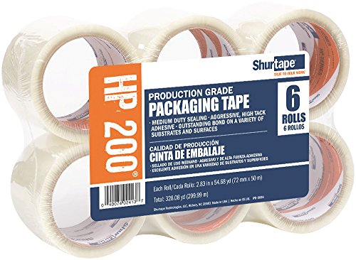 Shurtape HP 200 Production Grade Hot Melt Packaging Tape, 72mm x 50m, Clear, Package of 6 Rolls ()
