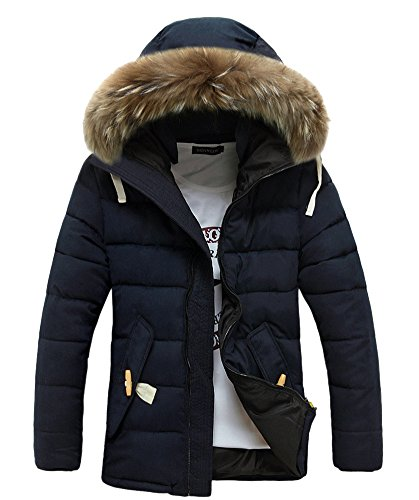 Allbebe Men's Large Fur Trim Down Hooded Padded Coat Jacket 3XL Navy Blue
