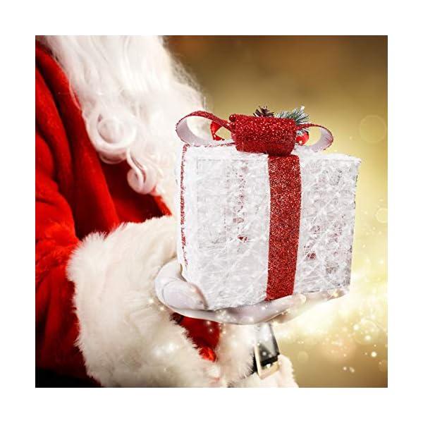 CCLIFE LED accendere Decorativa Natale Pacco Regalo Box Set dimmerabile, 3 Pezzi, Scatola Regalo LED, Illuminazione Decorativa, Colore:C: bianco + rosso, lana 6 spesavip