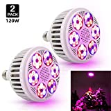 120W LED Grow Light Bulb, Derlights 36 LED Chips Full Spectrum Grow Lights for Indoor Plants, SMD 3030 Chips, Grow Lamp for Indoor Garden Hydroponics Greenhouse Plants Veg Flower, E26 Socket (2Pack)