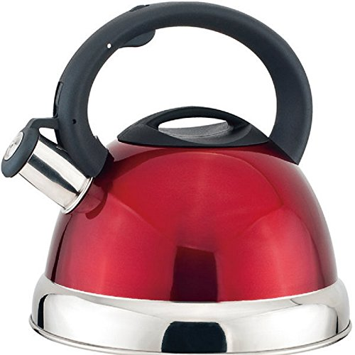 Base Encapsulated (Home N Kitchenware Collection 2.8 Liter Whistling TeaKettle Teapot, Stainless Steel, Bakelite Handle, Encapsulated Base, Stovetop Tea Kettle (Red))