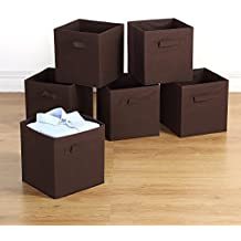 """Storage Bins - Housen Solutions 6 Pack Collapsible Cloth Storage Baskets Durable Nonwoven Cube Basket Organizer Foldable Fabric Drawers, Dual Handles, Brown 10.5"""""""