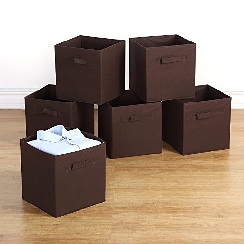 n Solutions 6 Pack Collapsible Cloth Storage Baskets Durable Nonwoven Cube Basket Organizer Foldable Fabric Drawers, Dual Handles, Brown (Brown Dual Handle)