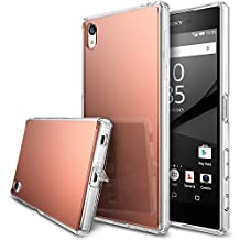 Xperia Z5 Premium Case, Ringke [FUSION MIRROR] Bright Reflection Radiant Luxury Mirror Bumper [Drop Protection/Shock Absorption Technology][Attached Dust Cap] For Sony Xperia Z5 Premium - Rose Gold
