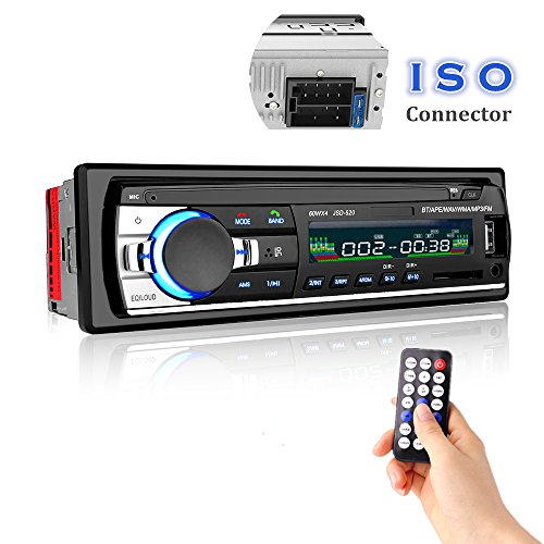 Car Stereo with Bluetooth, Cavogin Universal In-Dash Single Din Car Radio Receiver MP3 Player / USB / SD Card / AUX / FM Radio with Remote Control (Stereo Car Temperature)