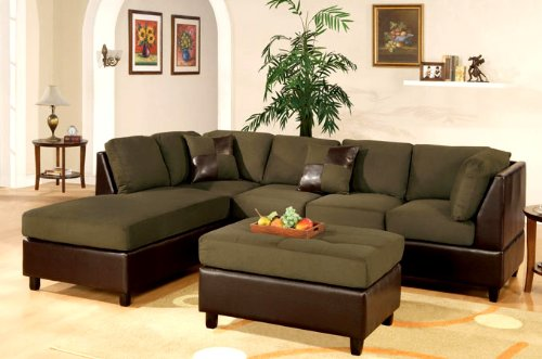 New Sage Microfiber/leatherette Sofa Sectional Couch - Reversible Chaise - Free Ottoman - Free Pillows