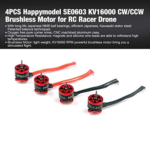 Wikiwand 4PCS Happymodel SE0603 KV16000 CW/CCW Brushless Motor for RC Racer Drone by Wikiwand (Image #1)