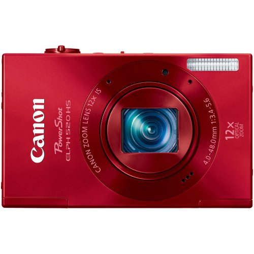 Canon PowerShot ELPH 520 HS 10.1 MP CMOS Digital Camera with 12x Optical Image Stabilized Zoom 28mm Wide-Angle Lens and 1080p Full HD Video Recording (Red) For Sale