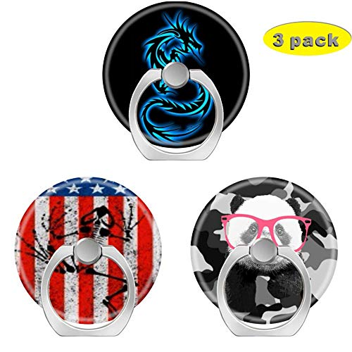 (Cell Phone Holder Socket,Finger Ring Pop Kickstand with Car Mount Grip for Phones,Cases,Tablets 7 sins Series Blue Dragon American Flag frogman Grey Black Camouflage Panda with Pink Glasses)