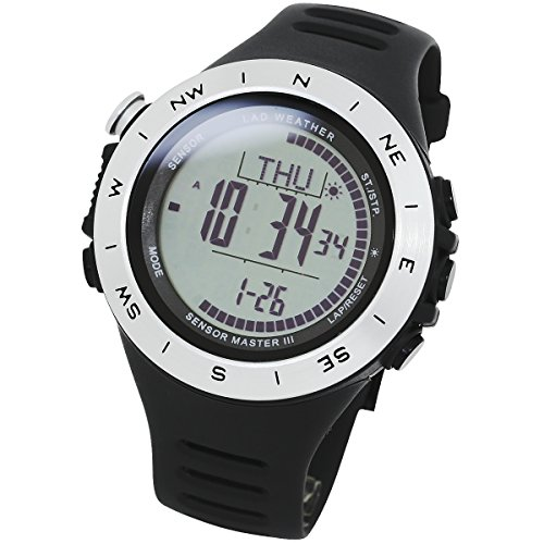 LAD WEATHER Swiss Sensor Watch - with Altimeter, Barometer, Digital Compass, Weather Forecast, and Step Data (sv-no)