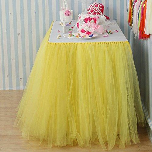 Vlovelife 100cm Yellow Tulle Tutu Table Skirt Tableware