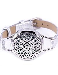 Mesinya Abstract Flowers Silver Color Genuine Leather bracelet / 316L s.steel Essential Oils Diffuser Locket bangle 6.6''-8.2''wrist