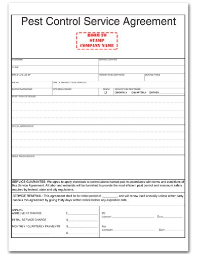 Amazon Pest Control Service Agreement Form Blank Purchase