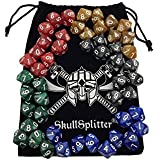 Skull Splitter Dice - D10 DICE Set-5 Sets of 10d10, Perfect for WOD or Math Dice Games - 10 Sided Polyhedral Dice Sets with Bag for Table Top RPG MTG Games Hit Point/Life Counters, Opaque Marbled