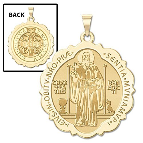 [Saint Benedict Scalloped Round Religious Medal - 2/3 Inch Size of Dime, Solid 14K Yellow Gold] (14k White Gold Religious Medal)