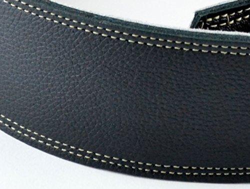 Pete Schmidt Handcrafted Leather Guitar Strap - Black Magic - Cream Stitch