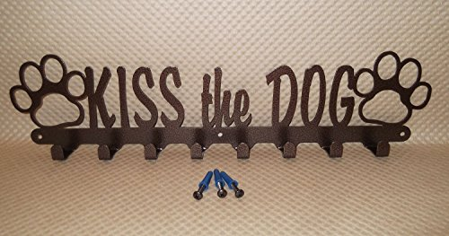 Dog Leash Holder. KISS the DOG. Copper Vein Color. 18.75 inch wide. With Screws. Handmade in USA