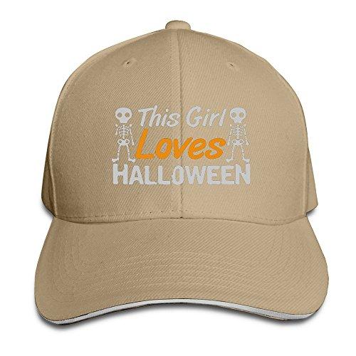 Runy Custom This Girl Loves Halloween Adjustable Sanwich Hunting Peak Hat & Cap Natural