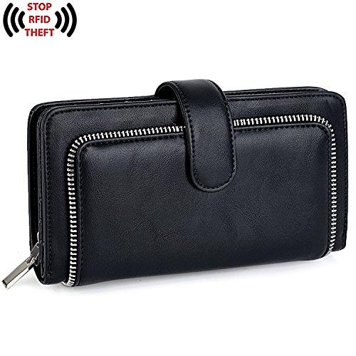 UTO Women PU Leather Wallet RFID Blocking Large Capacity 15 Card Slots Smartphone Holder Snap Closure New Black by UTO (Image #1)