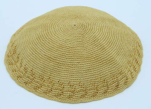 KippaCo Hand Knitted Yarmulke, Knitted Kippah Hat 15 cm/5.9 Inc 045 - Hand Knitted Kippah, Kippah. 100% Cotton, Bar Mitzvah Kippah, Wedding Kippah. Best Kippah. -