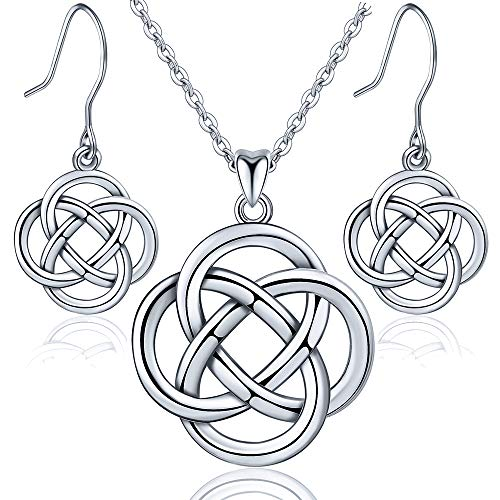 INFUSEU Celtic Eternity Knot Jewelry sets Sterling Silver Flower Women Pendant Necklace Dangle Earrings