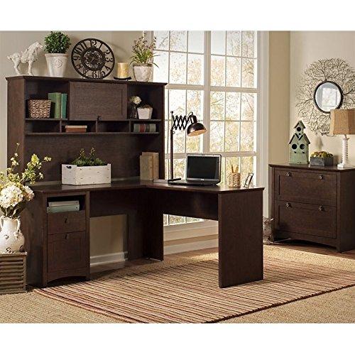 Buena Vista L Executive Desk with Hutch and Lateral File