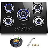 Happybuy 30'x20' Built-in Gas Cooktop 5 Burners LPG/NG Gas Stove Cooktop Tempered Glass Cooktop Gas Hob With Liquid Propane Conversion Kit Thermocouple Protection & Easy To Clean