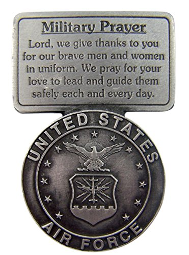 Fine Pewter United States Air Force Military Prayer Visor Clip, 2 1/2 Inch