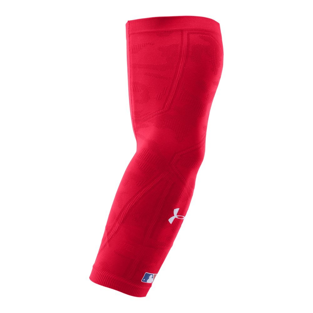 Under Armour Mens Knit Baseball Arm Sleeve, Red/Red, Small/Medium