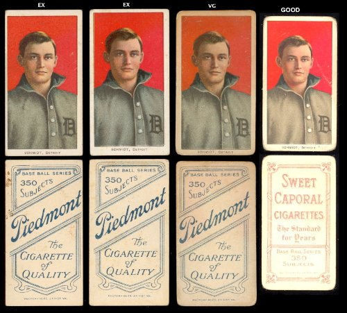 1909 t206 tobacco (baseball) Card# 417 boss schmidt (por) of the Detroit Tigers VG Condition