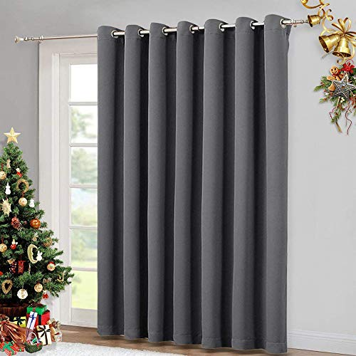 Tan Velvet Drapery Panels - NICETOWN Patio Sliding Door Curtain - Wide Blackout Curtains, Keep Warm Draperies, Grey Sliding Glass Door Drapes (Gray, 100 inches W x 84 inches L)